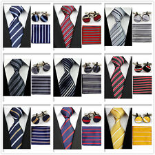 Fashion Men Black Yellow Navy Red Neckties Tie &Hanky Cufflinks Handkerchief Set