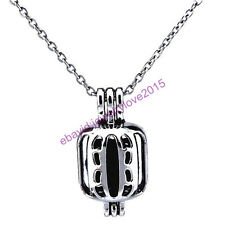 HY-K245 Silver 23mm Carve Box Oyster Pearl Beads Cage Locket Fit under 8mm Inner