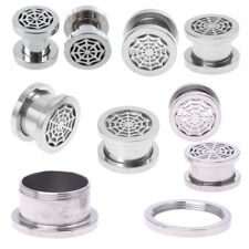 Spider web Screw-Fit Steel Ear Plugs Gauges Ring TUNNEL Piercing Jewelry L2N9