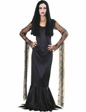 Ladies Official Morticia Addams Family Halloween Fancy Dress Costume