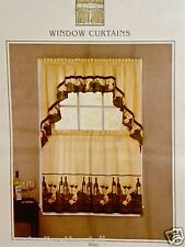 Vino Wine Bottles Kitchen Curtain Tuscan Tier OR Valance Grapes Chef NEW