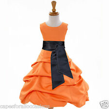 ORANGE PAGEANT DRESS FLOWER GIRL 2 2T 3T 4 4T 5T 6 6X 7 8 9 10 11 12 13 14 15 16