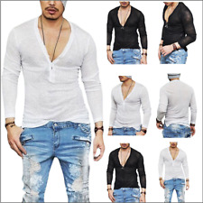 Mens Long Sleeve Deep V Neck Loose Casual Shirt Sports Gym Solid Tee Top Blouse