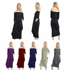 Womens Ladies Bardot Off Shoulder Baggy Oversized 2 Pocket Midi Parachute Dress