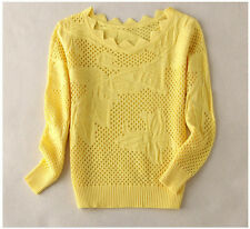 Spring Hollow Out Turtleneck Pullover Sweater Women Girl Knitted Top Slim Sexy