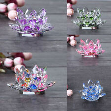 Buddhist Lotus Crystal Tea Light Candle Holder Candlestick Light Lamp Base