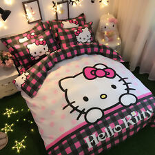 *** Hello Kitty Check Queen Bed Quilt Cover Set - Flat or Fitted Sheet ***