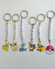 Pokemon personalised keyrings. Pikachu,Eevee,Vaporeon,Jolteon,Flareon,Pokeball
