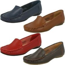 Ladies Spot On Leather Mocassin Loafer Slip On Shoes