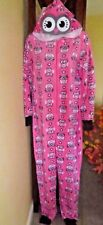 NEW Womens Fleece Critter Ears One-Piece Pajamas Costume Union Suit Owl S M L XL