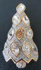 ~1996 RETIRED GOLD TONE SWAROVSKI CRYSTAL CHRISTMAS TREE BROOCH PIN~
