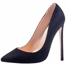 US 4-15 Womens Suede Slip On Pointed Toe High Heels Stiletto Pumps Party Shoes