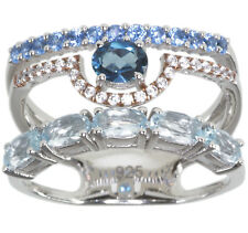 London Blue Topaz and Sky Blue Topaz Gemstone Layer Sterling Silver Ring