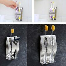 Stainless Steel Toothbrush Wall Mounted Toothbrush Holder With 2 Holes Rack LQ