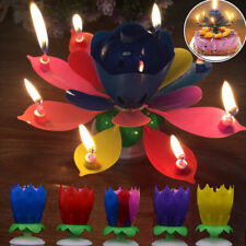 New Cake Topper Birthday Lotus Flower Blossom Decoration Musical Rotating Candle