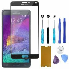 Replacement Front Screen Glass Lens Black for Samsung Note 4 Open Tools Sticker