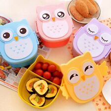 Owl Lunch Box Bento food-safe Plastic Food Picnic Container Portable Box WR