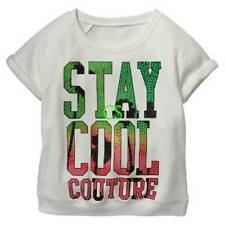 NWT-Girls Juicy Couture White Stay Cool Terry Short Sleeve Sweatshirt-sz 5/6 7/8