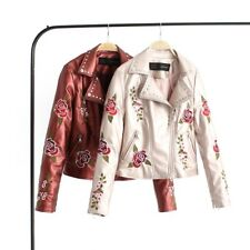 Womens Punk Embroider PU Leather Coat Rivet Lapel Motorcycle Biker Jacket Coat