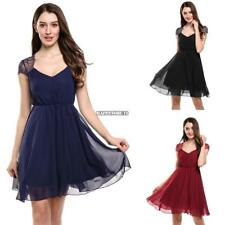 Women V-Neck Cap Sleeve Floral Lace Casual Chiffon Pleated Dress hfor