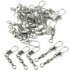 100pk Barrel Swivel with Safty Snap Connector Solid Rings Fishing Line Connector