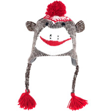 Sock Monkey Knit Hat with PolyFleece Lining TG Adult Size 9 Inch Accessories