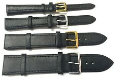 8mm - 24mm BLACK PLAIN GENUINE QUALITY SOFT LEATHER WATCH STRAP BAND with 2 PINS