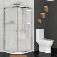 6mm Sliding Double Door Quadrant Walk In Cubicle Shower Enclosure + Stone Tray