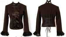 Quirky fitted Brown/Black Military corset jacket 8-14 NEW Steampunk/Pirate/Alt
