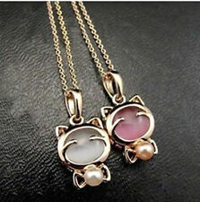 Hellokitty Jewelry Cute Pearl Stone Pendant Chain Necklace Ring Earrings LM73A