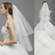2T White/ivory Wedding Bridal Veil Elbow length Women  Veil With Comb