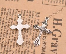 Wholesale 10Pcs Tibetan Silver Cross Charms Pendants Jewelry 31x19MM Z43