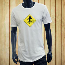WARNING I'M A DJ MUSIC PARTY DANCE CLUB LIT RAVE Men White Extended Long TShirt