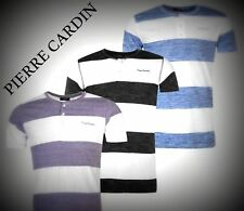 Mens NEW Pierre Cardin Lightweight Striped Henley T Shirt Top Size M-XXL