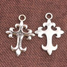 Wholesale 10Pcs Tibetan Silver Cross Charms Pendants Jewelry 43X29MM Z352