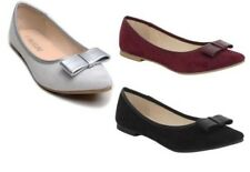 New Womens Ladies Faux Suede Bow Ballet Dolly Flats Shoes UK Size 3-8