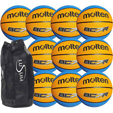 Molten BCR Basketballs 10 ball pack with a Heavy Duty Lusum Breathable Ball Bag
