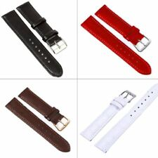 Mens  Leather Watch Strap Band Womens Wristwatch Belt Brushed Steel Buckle Hot