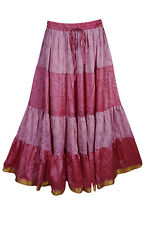 BOHO GYPSY HIPPY CHIC MAXI TIERED SKIRT VINTAGE SARI LONG SKIRTS FOR WOMENS