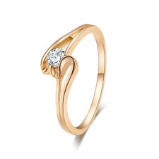 Solitare Wedding Love Gift Round Cut White Topaz 18K Yellow Gold Filled Ring