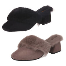 Fashion Furry Slip On Slides Round Toe Mules Womens Chunky Med Heels Shoes New
