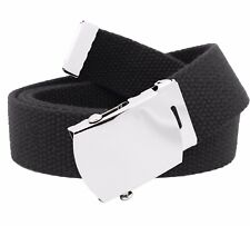 Men's Classic Silver Military Slider Buckle with Canvas Web Belt