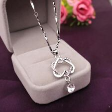 New Austrian Crystal Double Heart Pendant Necklaces Women Crystal Rhinestone Lov