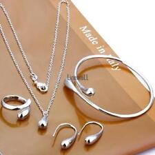 Women Fashion Jewelry Set Silver Water Drop Necklace Earring Ring Bangle LM