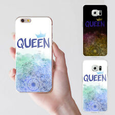 KF_ Elegant Flower Crown Queen Letter Print Case Cover for iPhone Samsung S4 E