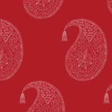 Paisley Decor Red Upholstery Fabric Printed by Spoonflower BTY