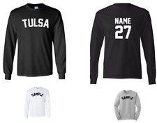 City of Tulsa Custom Personalized Name & Number Long Sleeve Jersey T-shirt