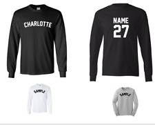 City of Charlotte Custom Personalized Name & Number Long Sleeve Jersey T-shirt