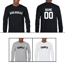 State of Arkansas Custom Personalized Name & Number Long Sleeve Jersey T-shirt