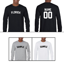State Florida Custom Personalized Name & Number Long Sleeve Jersey T-shirt